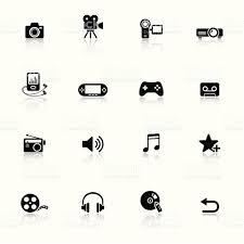 Black Minimalist by Black Minimalist Media Icons With Faint Reflections Stock Vector