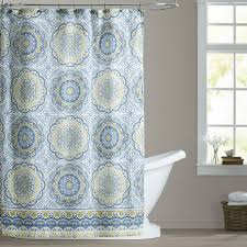 Circles Shower Curtain Blue Yellow White Paisley Circles Fabric Shower Curtain