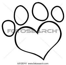 clipart paw print swirly heart logo k16783834