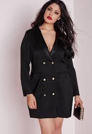 missguided plus size tuxedo satin collar dress black in black lyst