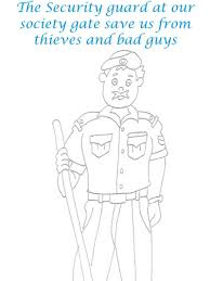 security guard printable coloring page for kids