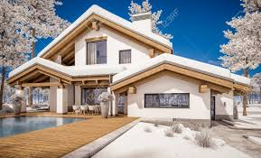 chalet style 3d rendering of modern cozy house in chalet style with garage
