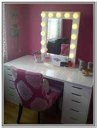 white vanity table with mirror simple dressing room with yellow shades bulb lighted mirror vanity