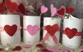 Candy Vases Centerpieces 4 Valentines Day Decor White Painted Small Tin Cans Glitter Love