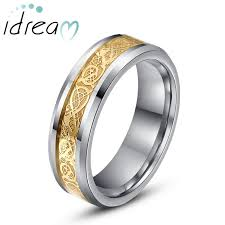 dragon jewelry rings images Gold white celtic dragon inlay tungsten wedding bands beveled jpg