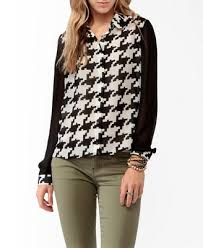 houndstooth blouse pixelated houndstooth print blouse forever21 2019571747 my