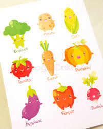 Kawaii Room Decor by Vegetables Print Kawaii Art Learning Art Print Food Art For