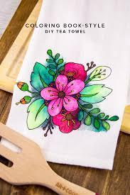 floral coloring book styled diy tea towel diycandy com