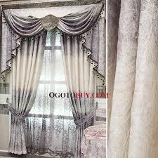 Buy Valance Curtains Elegant Curtains Room Darkening Gray Pattern Jacquard No Valance