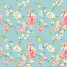 Chic Flower Spring Blossom Flowers Background Seamless Floral Shabby Chic