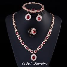 necklace bracelet earring ring images Cwwzircons gold color african nigerian cz beads party jewelry jpg