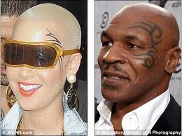 amber rose has a large left eye tattoo similar to that of mike tyson