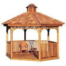 patio gazebo lowes shop cedarshed cedar cedar hexagon gazebo exterior 11 25 ft x