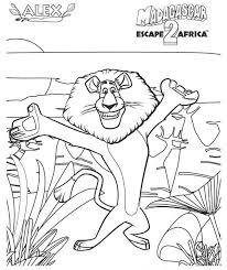 alex the lion the madagascar 2 escape africa colouring page