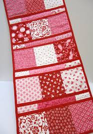 valentines day table runner table runner pink with hearts quilted