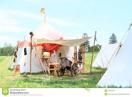 Wooden Tent by Tents In Historical Camp Stock Photo Image 40618402