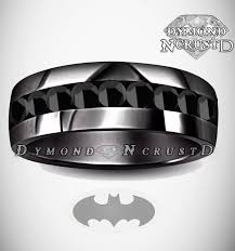 batman wedding rings men s batman inspired blackout black swarovski