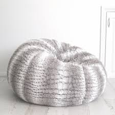 grey bean bag chair fur beanbag cover insert soft silver grey white husky bean bag