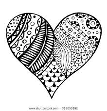 zen patterns coloring pages zentangle patterns coloring pages hand drawn monochrome hearts in