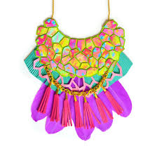pink turquoise necklace images Neon statement necklace purple feather bib tassel necklace rainbo jpg
