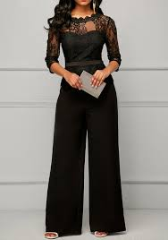 formal jumpsuit black patchwork lace peplum wide leg formal for