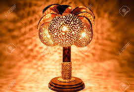 Coconut Shell Chandelier Bedside L Made From Perforated Coconut Shell Stock Photo