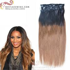 ombre clip in hair extensions ombre malaysian hair 8pcs clip in hair extension 18inches