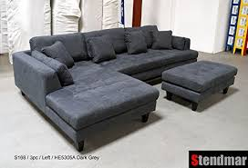 Microfiber Sectional Sofas 3pc Contemporary Grey Microfiber Sectional Sofa
