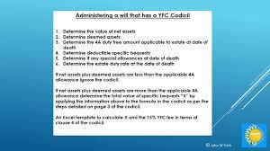 administering a yfc codicil will