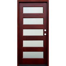 pacific entries 36 in x 80 in contemporary 5 lite mist lite pacific entries 36 in x 80 in contemporary 5 lite mist lite stained mahogany