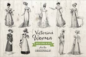 9 victorian era dress illustrations graphics creative market