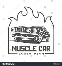 abstract muscle car label logo template stock illustration