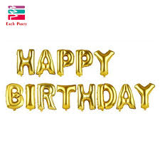 multicolor letters happy birthday foil balloons silver gold