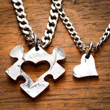 puzzle love necklace images Heart puzzle piece with initials couples necklaces custom cut jpg