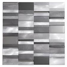 aluminum tile silver mix modern pattern kitchen backsplash