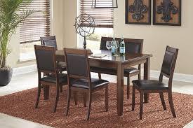 meredy dining room table and chairs with bench set of 6 ashley