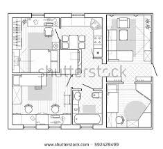black white architectural plan house layout stock vector 592429499
