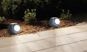 pure garden solar rock landscaping lights set of 4 groupon