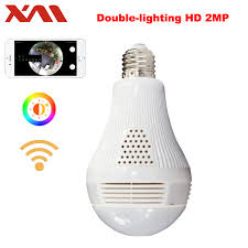 motion detector light with wifi camera double lighting bulb 360 panoramin safty wifi 1080p vr camera