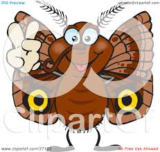 clipart illustration of a peaceful brown moth smiling and