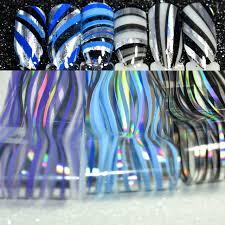 Blau Schwarz Muster Holographische N磴gel Dekoration Folie Bunte Wasser Muster Lila