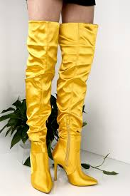 s yellow boots yellow satin the knee satin point toe side zipper stiletto