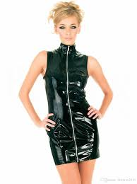 leather lingerie for women zipper dancing dress exotic