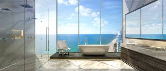 Sea Glass Bathroom Ideas Colors Sea View Contemporary Bathroom Design With Large Glass Window