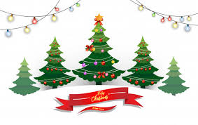 Merry Christmas and Happy New Year illustrations of pine trees
