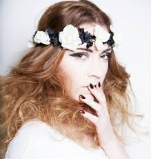 white flower headband may flowers monochrome