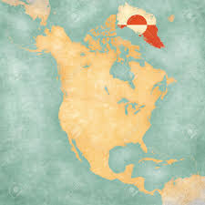 North America Blank Map by Greenland Flag On The Outline Map Of North America The Map Stock