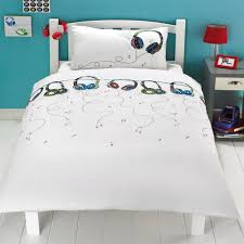 Childrens Duvet Cover Sets Headphones Wire Music Notes Kids Children Duvet Quilt Cover Set