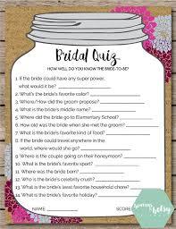 wedding gift quiz jar bridal quiz bridal shower wedding bridal
