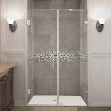 heavy glass shower door schon mia 40 in x 55 in semi framed hinge tub and shower door in